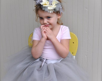 Dove grey Flower Girl short 8 layer tutu with silver satin ribbon sash waist. Sewn, no tied knots.