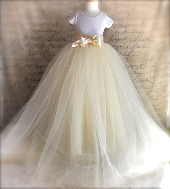 Extra long lined Flower Girl  tutu. Classic Elegance. Your color choice for fall and winter weddings.