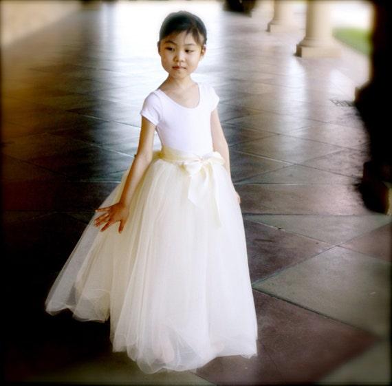 """Ivory Flower Girl Tutu. Sewn long tulle skirt. 26"""" standard length. Several colors available."""