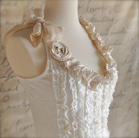 Cream ruffles shabby chic tee shirt--Modern Day Aristocrat Tee Shirt in soft cotton and silk.