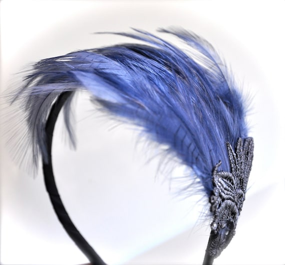 Blue Jean Grey Feather Fascinator. A chic classic with a touch of lace. Ready to ship.