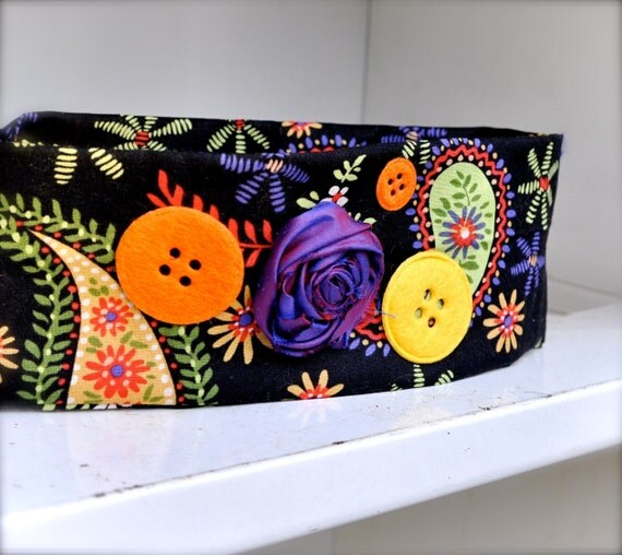 Boho Wrap Headband--neon brights in black, orange, purple, yellow paisleys with felt buttons.