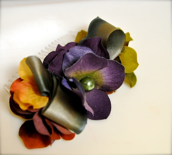 Fall hydrangea Comb. Deep plum,  rust, mustard yellow, olive green with matching pearls and silk ribbons.
