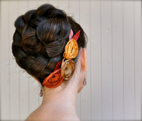 Rust, saffron and golden brown flower hair clips on a satin or velvet headband ribbon.