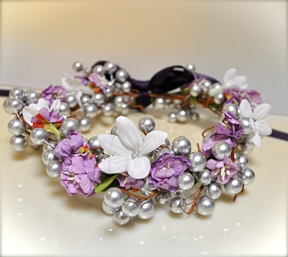 Flower Girl wreath in plum, white or silver .
