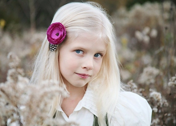 Berry blossom feather hair clip for girls, teens, women. Also in ivory, red, blue, green, buttercream yellow.