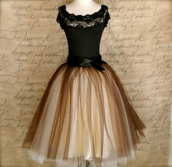 Chocolate brown and cream tutu for women. One of our popular tulle skirts, now with wide black ribbon waist.