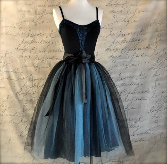 Black and tiffany blue aqua  tutu skirt for women.  Ballet glamour. Retro look tulle skirt.