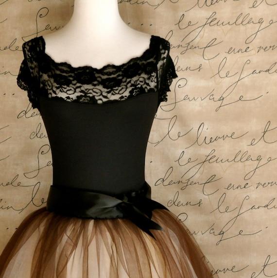 Black lace cap sleeve leotard. Matches many tutu tulle skirts at TutusChic.