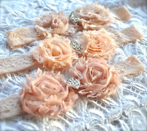 Vintage blush cream stretch lace headband shabby chic blossoms for women or girls. Old Hollywood glamour with vintage rhinestone accent.