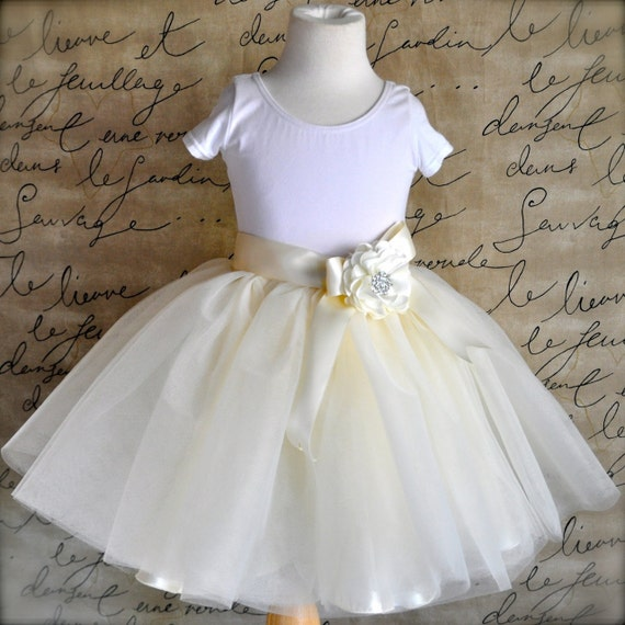 Ivory Flower short lined girl's tutu sewn in ivory with choice of flower clip/pin