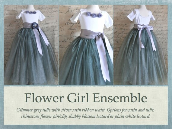 Dark grey lined tutu-- Flower Girl. This is a full tutu is lined with silver bridal satin. Flower clip option.