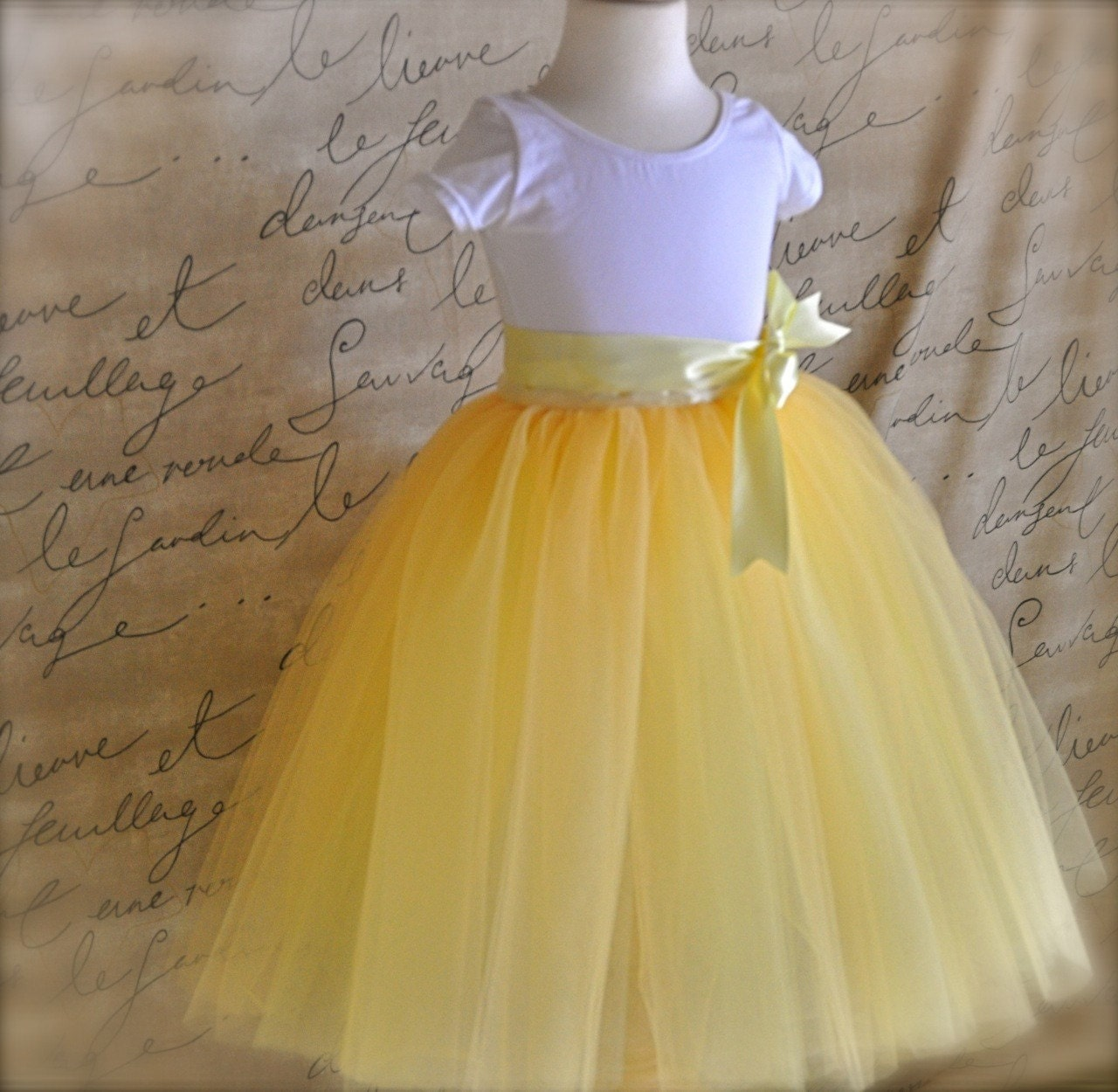 Sunshine yellow tutu for girls Six layers of butter yellow