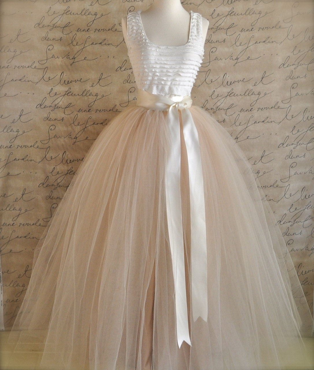 Full length champagne tulle skirt champagne tulle lined in for Wedding dresses with tulle skirts