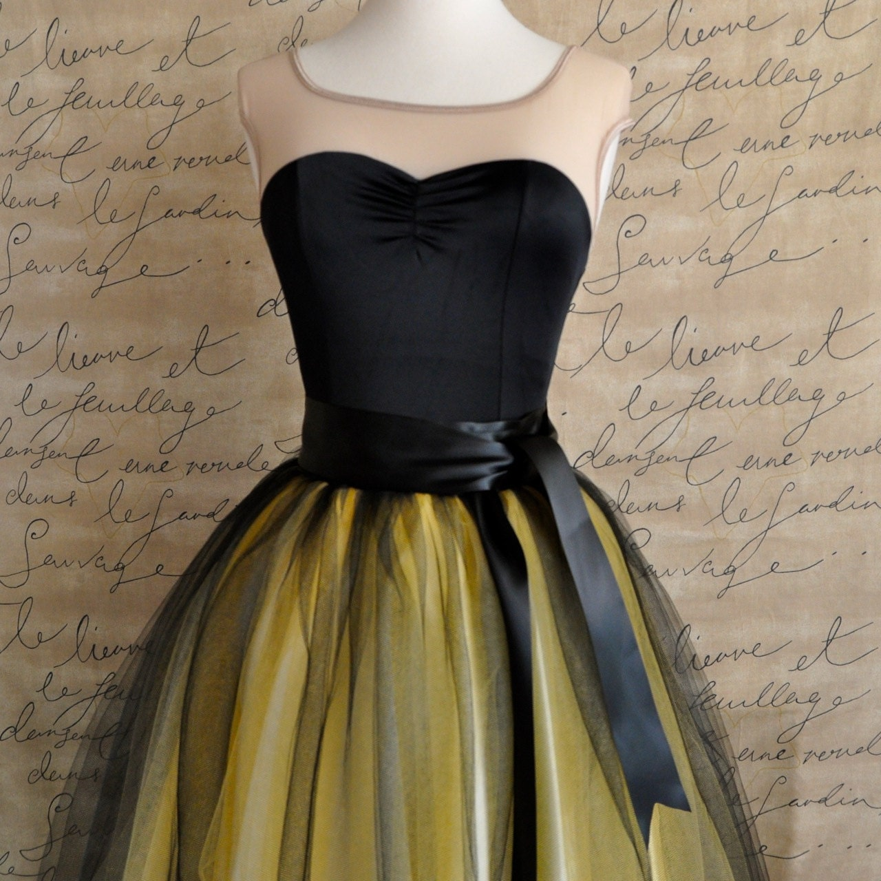 black and yellow tutu skirt for by tutuschicoriginals