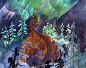 Winter Solstice Under the Norther Lights Set of 6 Note Cards
