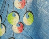 vintage 40s fabric cherries novelty print remnant lot