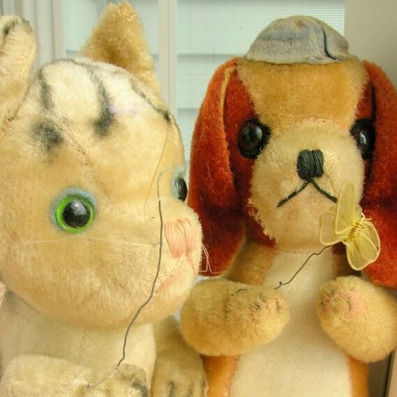 Gund Vintage 60s Kitten and Dog Plush Stuffed Animals