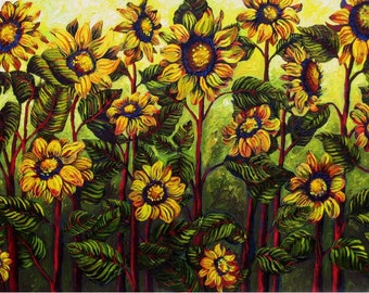 Field of Sunflowers on Yellow 30x48