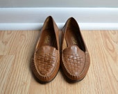Shoes Loafers Flats Leather Woven Brown Schoolboy Leather Craft Vintage Size 9 - 9.5