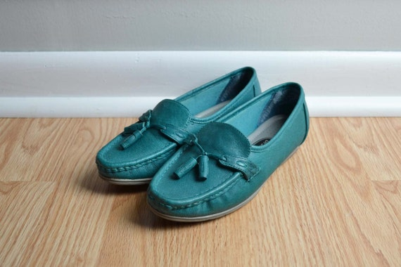 SALE Loafers Leather Granny Bright Teal Green Slip On Vintage Size 5.5 - 6