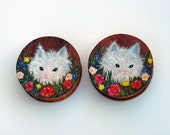 "Hand Painted Kitten In The Garden Plugs - 1.5"" OOAK Ready To Ship"