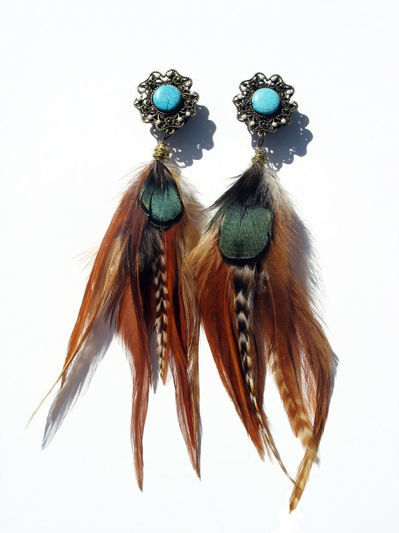 "Native American INSPIRED Princess Feather Plugs/Earrings 6g 4g 2g 0g 00g 7/16"" 1/2"" 9/16"" 5/8""  3/4"" 7/8"" 1"""