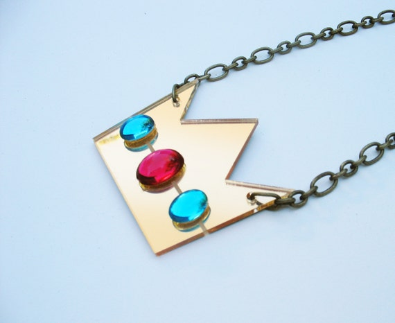 RESERVED FOR PINKY 8-Bit Princess Gold Mirror Laser Cut Necklace