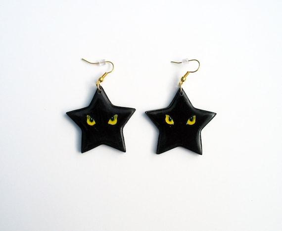 Black Cat Star Earrings - Ready To Ship
