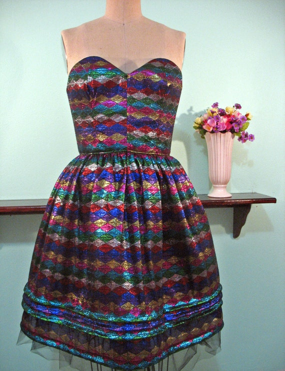 Rainbow Metallic Harlequin Circus Strapless Dress - SMALL
