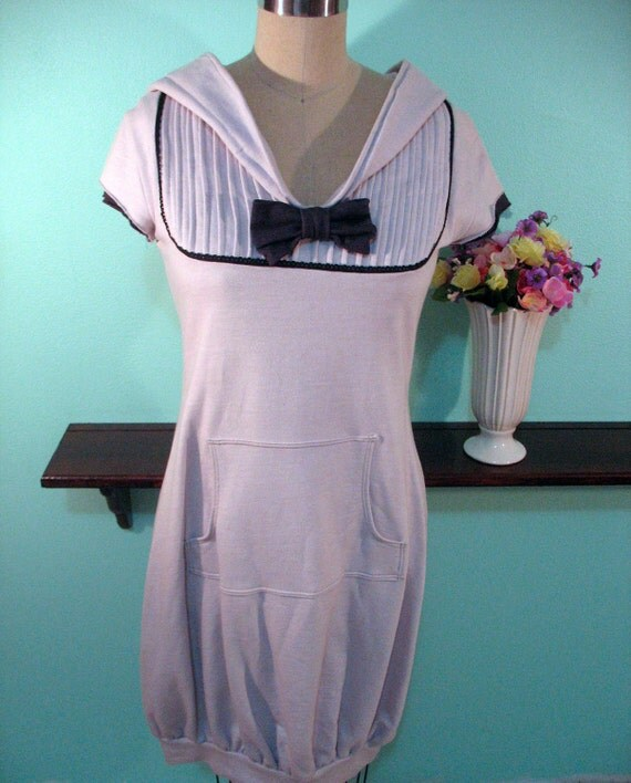 Light Grey Bubble Hem Hoodie Dress with Bow - Magna Carta Collection - SMALL RESERVED for Lynzee