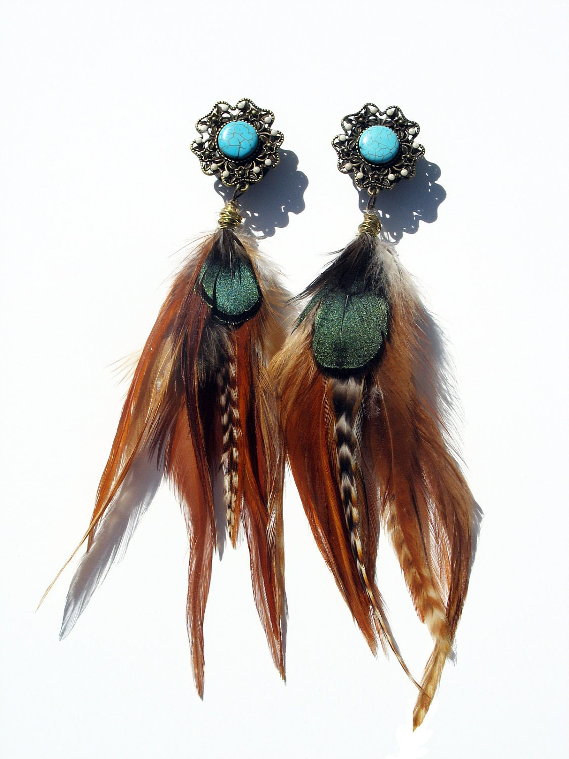native american inspired princess feather plugs earrings 6g 4g