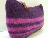 Knit Felted Wool Cosmetic Bag, Felted Wool Clutch, Wool Purse Purple, Boiled Wool Clutch Bag, Felt Wool Purse Purple, Orchid, Purple Clutch