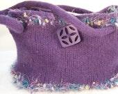 Felted Wool Purse, Knit felted wool handbag,  Boiled Wool Purple Handbag, Orchid Felt Purse, Lavender Purse, Lined Wool Purse, Trends