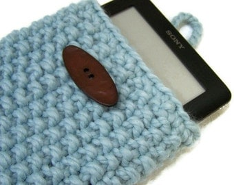 Knit IPad Mini Sleeve, Knit Kindle Fire Sleeve Case, Knit Nook Case, Knit E Reader Case, Knit Blue IPad Mini Sleeve, Chunky Knit Kindle case