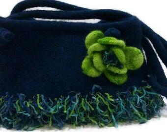 Blue Knit Wool Felt Shoulder Bag, Turquoise Blue Felted Purse with Flower, Felted Wool Knit Purse, Fabric Lined Wool  Purse With Flower