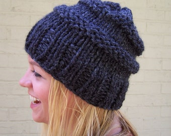 Gray Chunky Knit Slouchy Hat, Charcoal Gray Beehive Hat, Made to Order Knit Hat, Chunky Hand Knit Hat, Big Knit Gray Toque, Warm Winter Hat