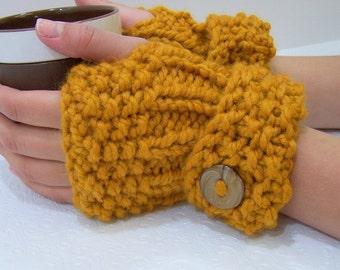Chunky Knit Fingerless Mittens, Honey Gold Knit Mittens, Button Cuff Fingerless Mittens, Mustard Gold Mittens, Winter Trends
