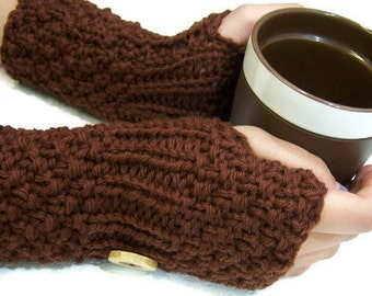 Brown Chunky Knit Fingerless Mittens, Button Cuff Fingerless Mittens, Brown Wool Mittens, Hand Knit Brown Wristwarmer, Fall Autumn Trends
