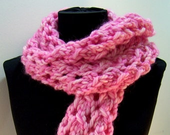 Long Chunky Knit Lace Scarf , Chunky Knit Wool Scarf  Pink, Pink Lacey Knit Scarf, Luxury Wool Knit Scarf, Big Knit Wool Scarf, Winter Trend