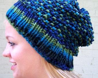 Chunky Knit Wool Slouch Hat, Blue Green Knit Hat, Wool Knit Toque, Big Knit Wool Hat, Wool Winter Hat, Warm Winter Hat, Fall Winter Trends