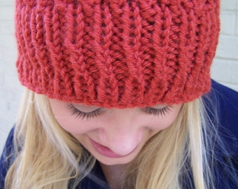 Cora lChunky Knit Ribbed Hat, Alpaca Knit Toque, Knit Wool Beanie, Knit Wool Alpaca Hat, Chunky Knit Hat  Red Wool, Hats for Men Women