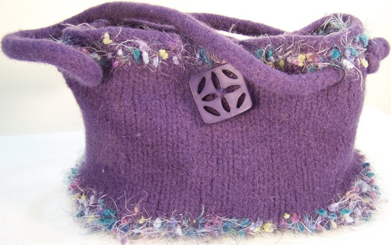 Felted Wool Purse, Knit felted wool handbag,  Boiled Wool Purple Handbag, Orchid Felt Purse, Lavender Purse, Lined Wool Purse, Trends