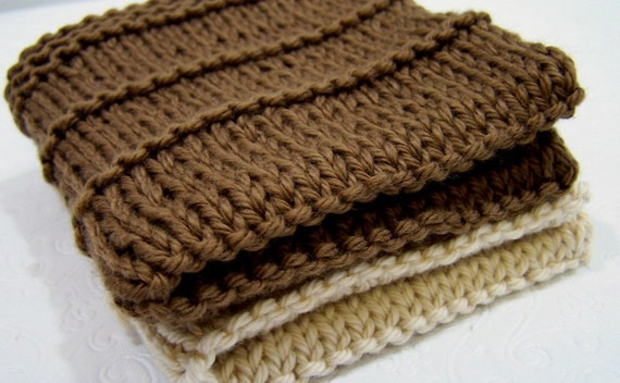 Knit Cotton Spa Face Cloths Washcloths Set Cafe Au Lait Brown and Ecru