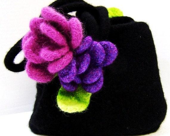 Black Evening Bag Bridesmaid Gift Bridesmaid Clutch Purse Felted Wool flowers Purple Pink Fall Winter Wedding