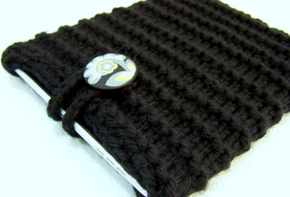Knit IPad Sleeve, Notebook Sleeve, Tablet Sleeve Case, Knit, Black, Button Closure