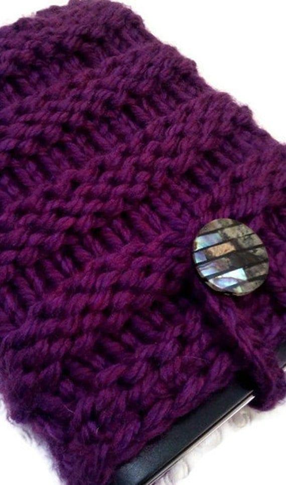 Knit IPad Mini Sleeve, Knit Kindle Fire Sleeve, Knit Nook Case, Knit E Reader Sleeve, Case, in Purple