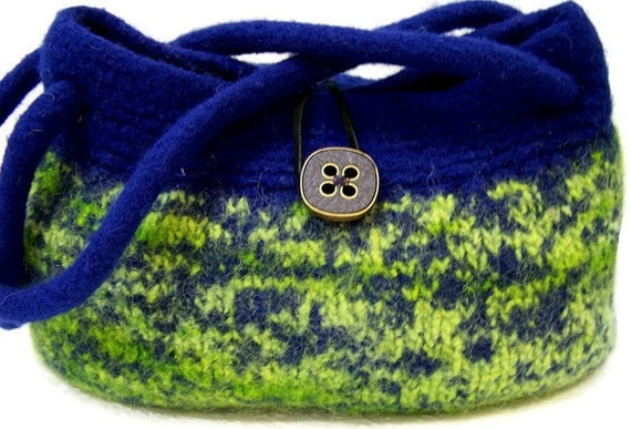 Knit Wool Felted Shoulder Bag, Felted Wool Purse, Hand Knit Purse, Medium Hobo Bag, Knit Blue Purse, Lime Green Knit Purse, Fabric Lined