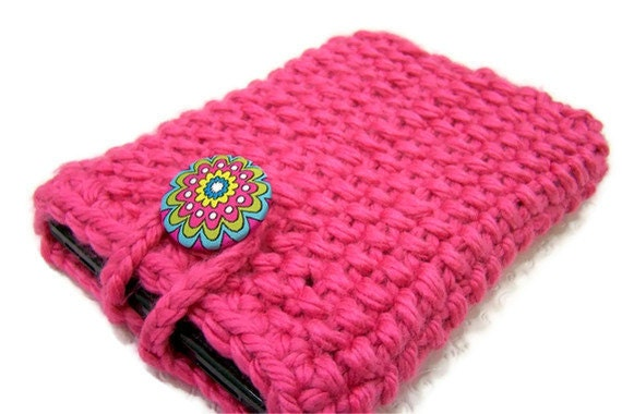 Knit Kindle Fire IPad Mini Nook E Reader Case Cozy Sleeve Pink
