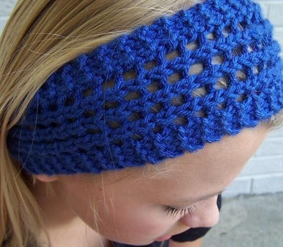 Knit Earwarmer, Knit Wide Headband, Knit Headband in Bright Blue